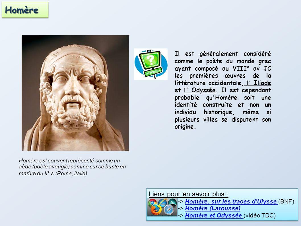 Homère est souvent représenté comme un aède (poète aveugle) comme sur ce buste en marbre du II° s (Rome, Italie) Il est généralement considéré comme l