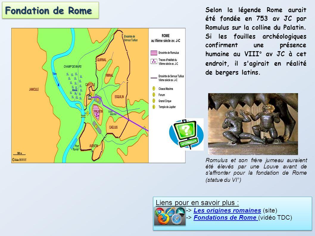 Selon la légende Rome aurait été fondée en 753 av JC par Romulus sur la colline du Palatin. Si les fouilles archéologiques confirment une présence hum