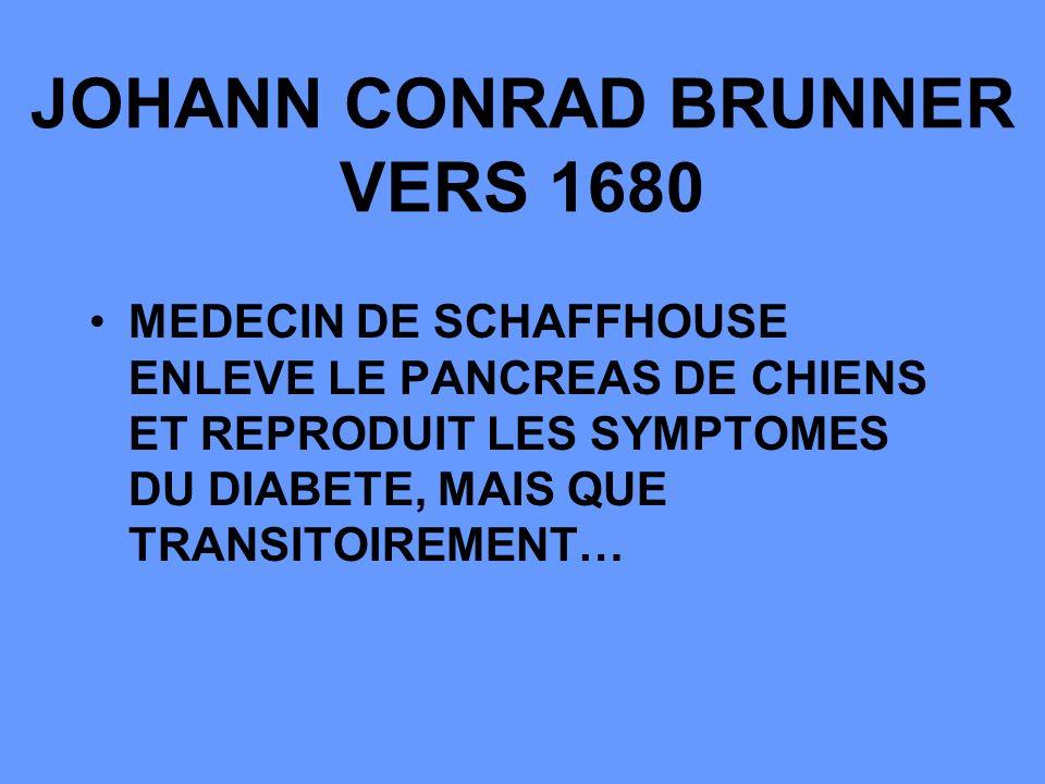 JOHANN CONRAD BRUNNER VERS 1680 MEDECIN DE SCHAFFHOUSE ENLEVE LE PANCREAS DE CHIENS ET REPRODUIT LES SYMPTOMES DU DIABETE, MAIS QUE TRANSITOIREMENT…