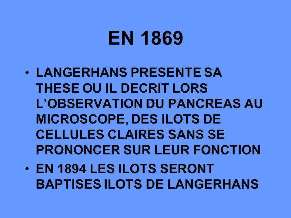 EN 1869 LANGERHANS PRESENTE SA THESE OU IL DECRIT LORS LOBSERVATION DU PANCREAS AU MICROSCOPE, DES ILOTS DE CELLULES CLAIRES SANS SE PRONONCER SUR LEUR FONCTION EN 1894 LES ILOTS SERONT BAPTISES ILOTS DE LANGERHANS