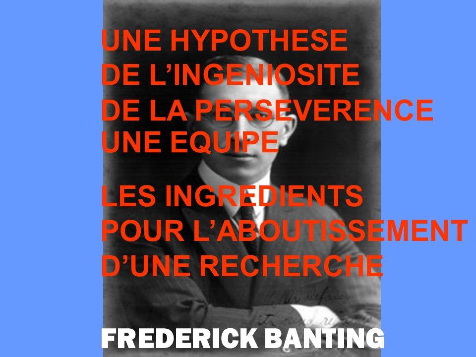 UNE HYPOTHESE DE LINGENIOSITE DE LA PERSEVERENCE UNE EQUIPE LES INGREDIENTS POUR LABOUTISSEMENT DUNE RECHERCHE FREDERICK BANTING