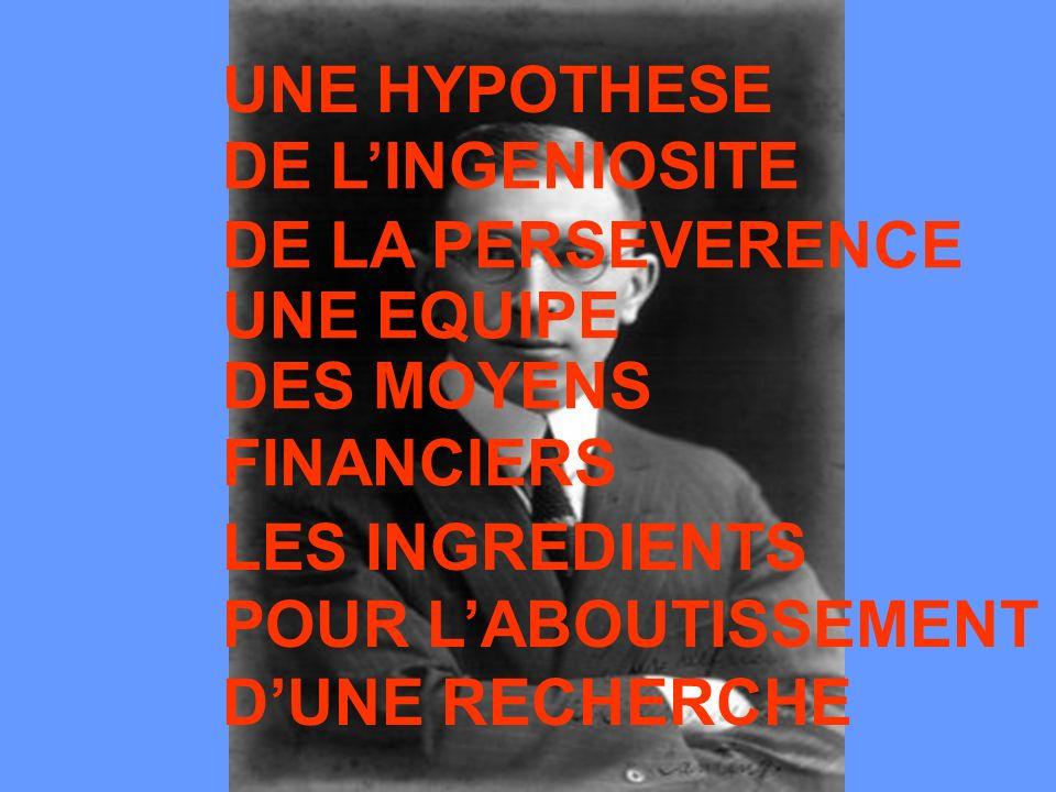 UNE HYPOTHESE DE LINGENIOSITE DE LA PERSEVERENCE UNE EQUIPE LES INGREDIENTS POUR LABOUTISSEMENT DUNE RECHERCHE DES MOYENS FINANCIERS