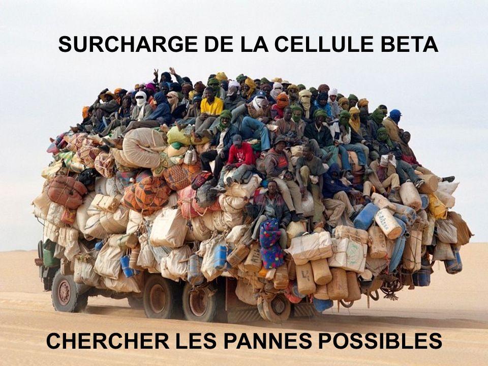 SURCHARGE DE LA CELLULE BETA CHERCHER LES PANNES POSSIBLES