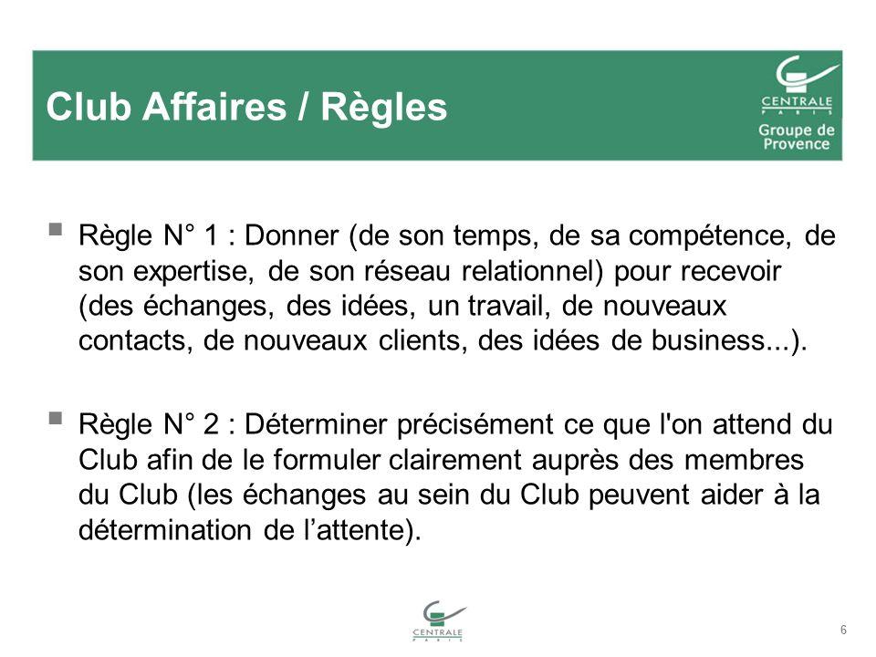 Club Affaires / Règles Règle N° 1 : Donner (de son temps, de sa compétence, de son expertise, de son réseau relationnel) pour recevoir (des échanges, des idées, un travail, de nouveaux contacts, de nouveaux clients, des idées de business...).