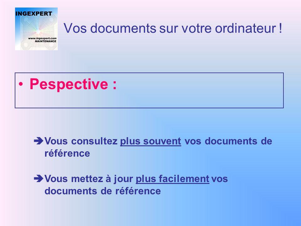 Vos documents sur votre ordinateur ! Ingexpert traduit votre base documentaire papier + informatique en une base documentaire cohérente Vous accédez a