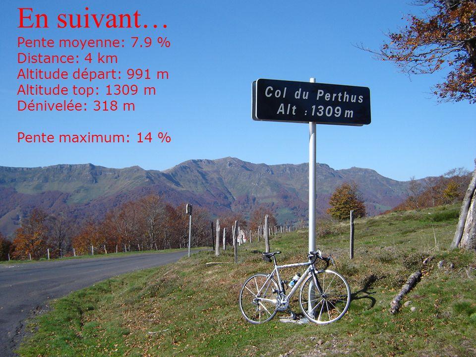 En suivant… Pente moyenne: 7.9 % Distance: 4 km Altitude départ: 991 m Altitude top: 1309 m Dénivelée: 318 m Pente maximum: 14 %