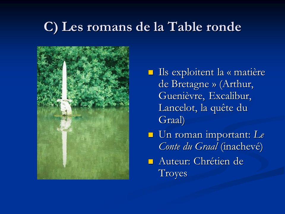 C) Les romans de la Table ronde Ils exploitent la « matière de Bretagne » (Arthur, Guenièvre, Excalibur, Lancelot, la quête du Graal) Un roman importa