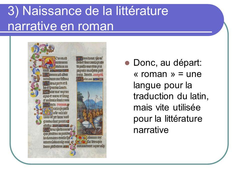 3) Naissance de la littérature narrative en roman Donc, au départ: « roman » = une langue pour la traduction du latin, mais vite utilisée pour la litt