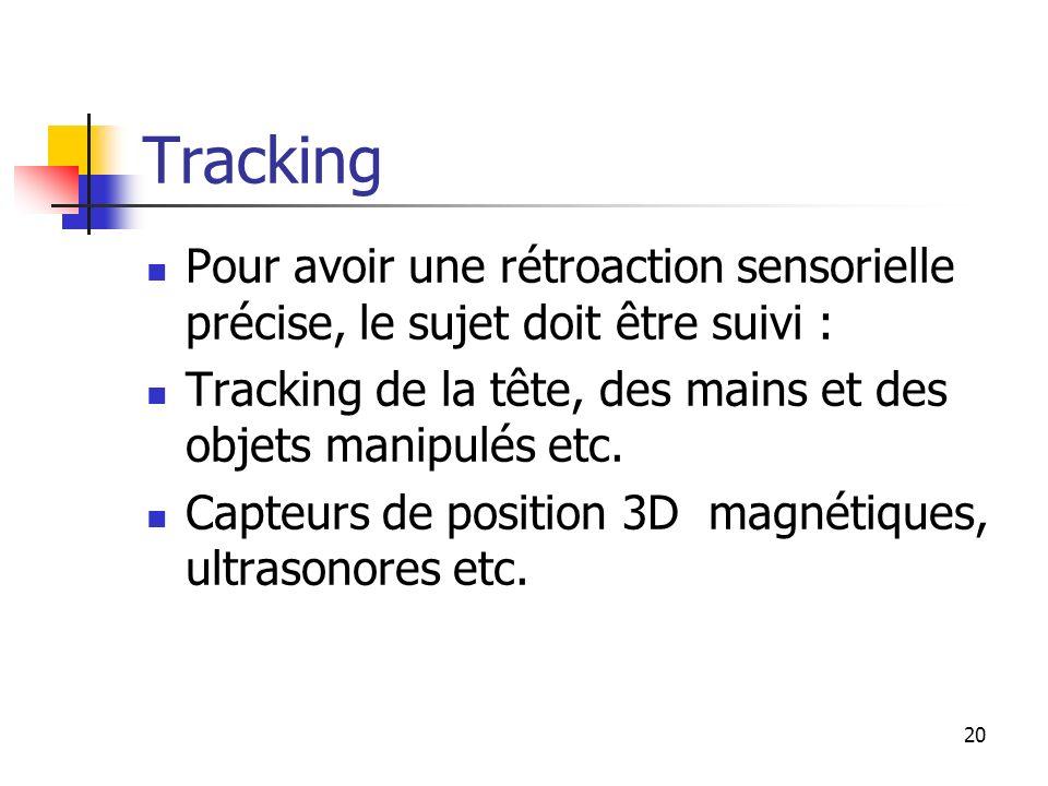 20 Tracking Pour avoir une rétroaction sensorielle précise, le sujet doit être suivi : Tracking de la tête, des mains et des objets manipulés etc.