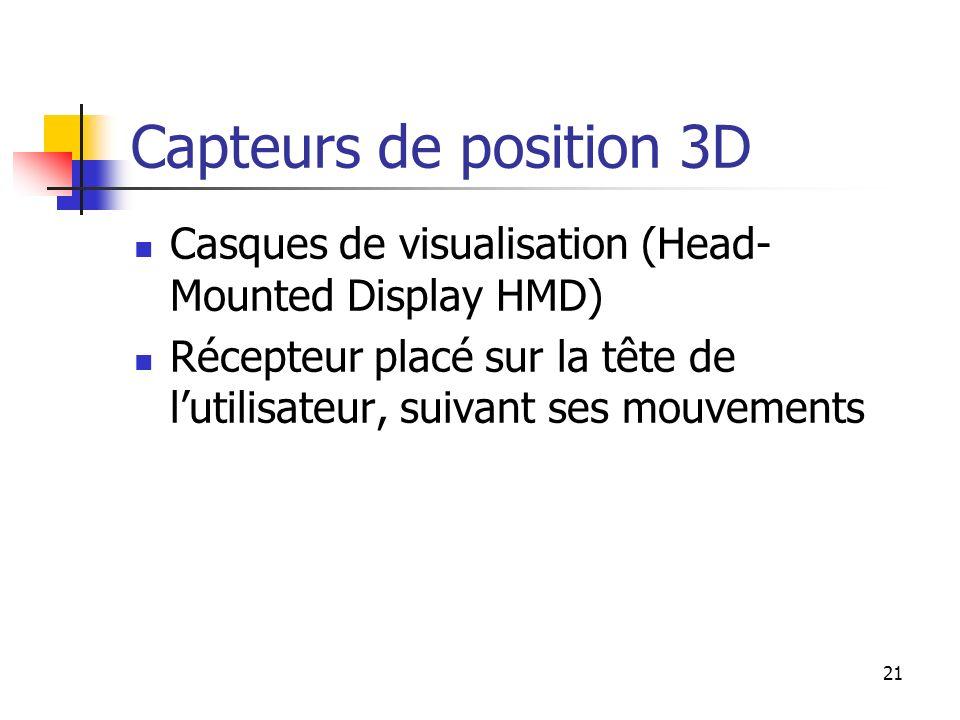21 Capteurs de position 3D Casques de visualisation (Head- Mounted Display HMD) Récepteur placé sur la tête de lutilisateur, suivant ses mouvements