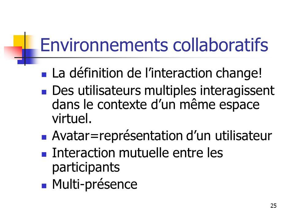 25 Environnements collaboratifs La définition de linteraction change.