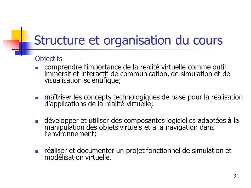 4 Structure et organisation du cours Plan Introduction Aperçu sur les systèmes actuels de réalité virtuelle.