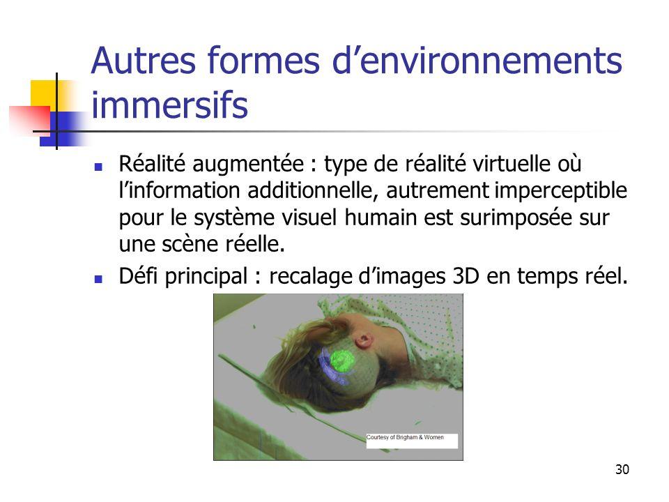 30 Autres formes denvironnements immersifs Réalité augmentée : type de réalité virtuelle où linformation additionnelle, autrement imperceptible pour le système visuel humain est surimposée sur une scène réelle.