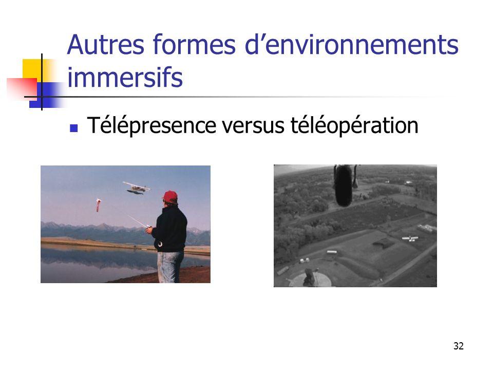 32 Autres formes denvironnements immersifs Télépresence versus téléopération