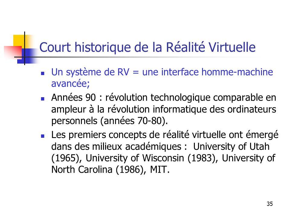 35 Court historique de la Réalité Virtuelle Un système de RV = une interface homme-machine avancée; Années 90 : révolution technologique comparable en ampleur à la révolution informatique des ordinateurs personnels (années 70-80).