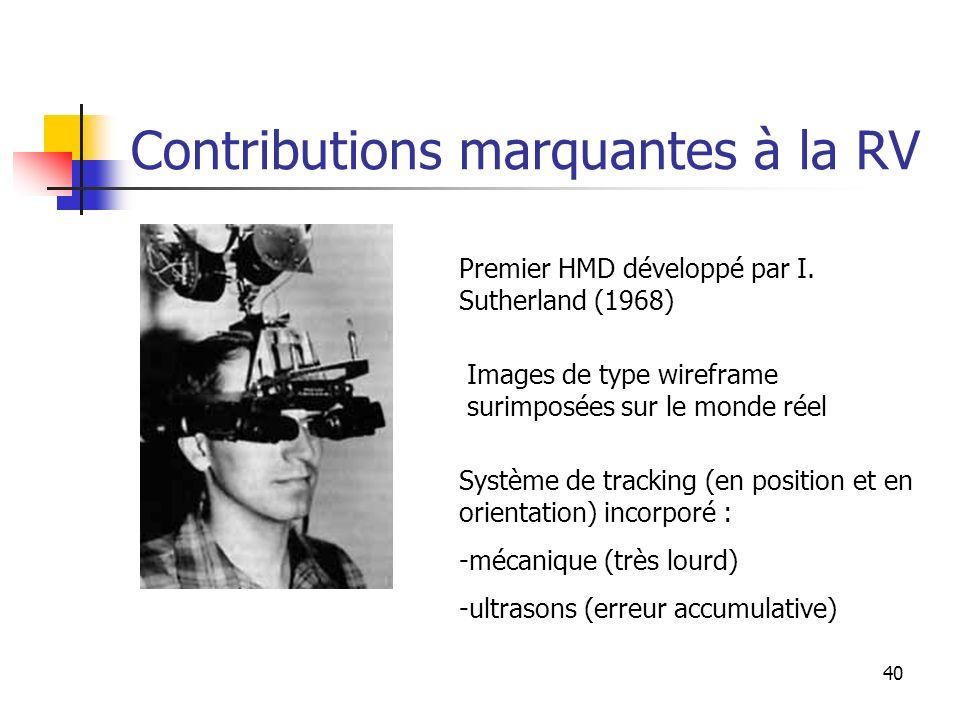 40 Contributions marquantes à la RV Premier HMD développé par I.