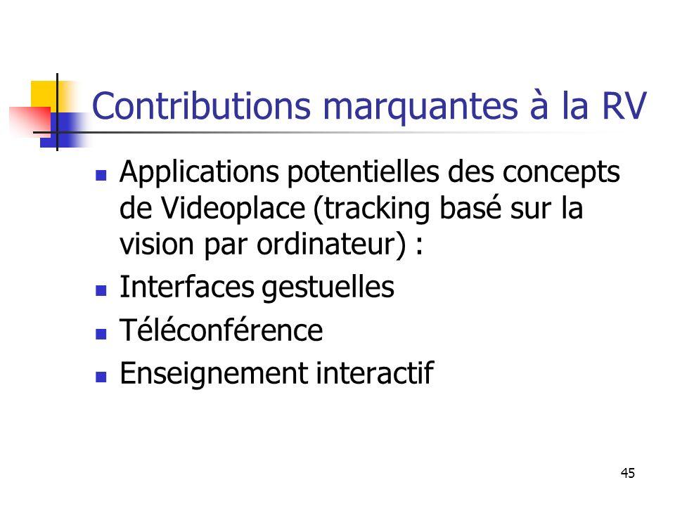 45 Contributions marquantes à la RV Applications potentielles des concepts de Videoplace (tracking basé sur la vision par ordinateur) : Interfaces gestuelles Téléconférence Enseignement interactif