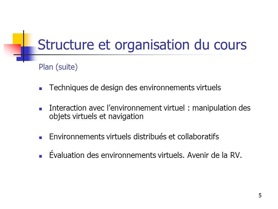 6 Structure et organisation du cours Bibliographie suggérée : Sherman & Craig : Understanding Virtual Reality.
