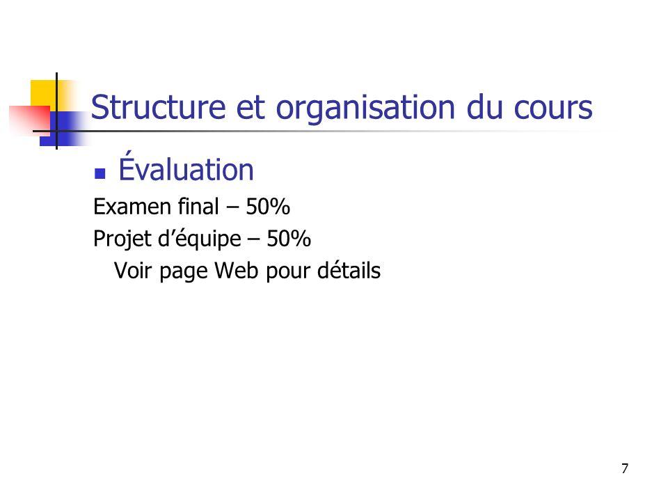 7 Structure et organisation du cours Évaluation Examen final – 50% Projet déquipe – 50% Voir page Web pour détails