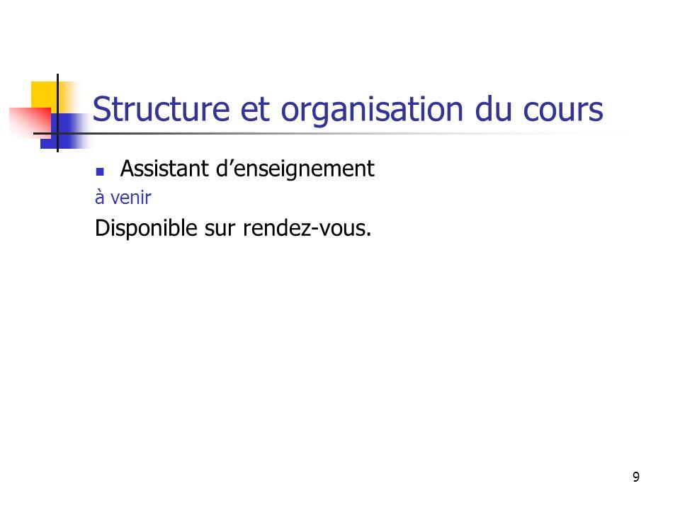 9 Structure et organisation du cours Assistant denseignement à venir Disponible sur rendez-vous.