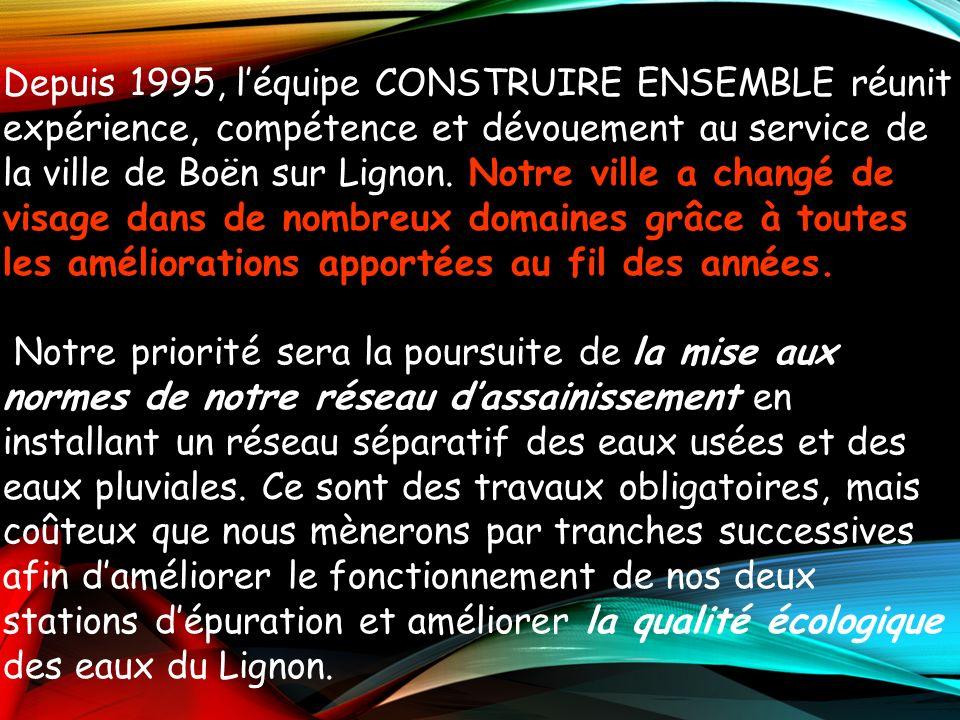 Depuis 1995, léquipe CONSTRUIRE ENSEMBLE réunit expérience, compétence et dévouement au service de la ville de Boën sur Lignon. N NN Notre ville a cha