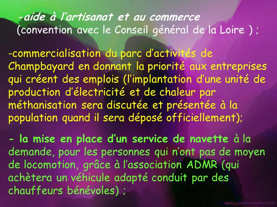 -commercialisation du parc dactivités de Champbayard en donnant la priorité aux entreprises qui créent des emplois (limplantation dune unité de produc