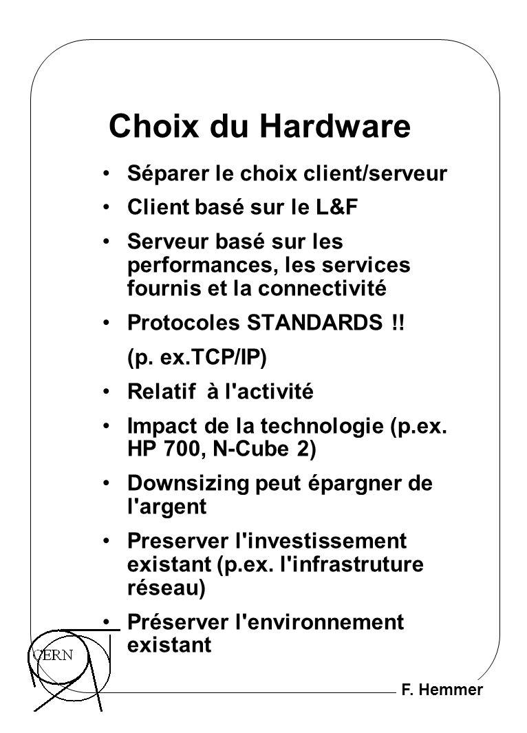 F. Hemmer Choix du Hardware Séparer le choix client/serveur Client basé sur le L&F Serveur basé sur les performances, les services fournis et la conne