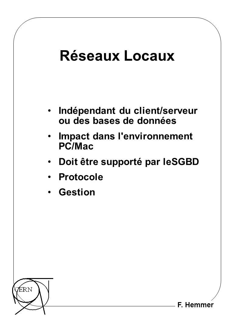 F. Hemmer Réseaux Locaux Indépendant du client/serveur ou des bases de données Impact dans l'environnement PC/Mac Doit être supporté par leSGBD Protoc