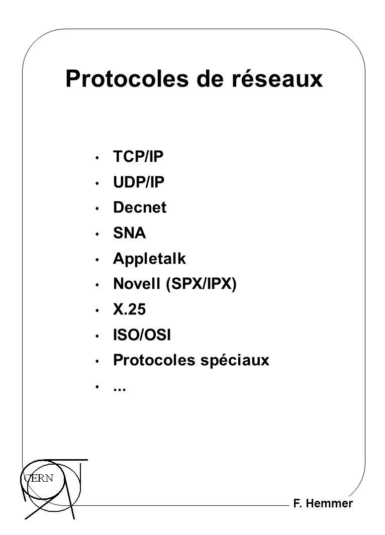 F. Hemmer Protocoles de réseaux TCP/IP UDP/IP Decnet SNA Appletalk Novell (SPX/IPX) X.25 ISO/OSI Protocoles spéciaux...