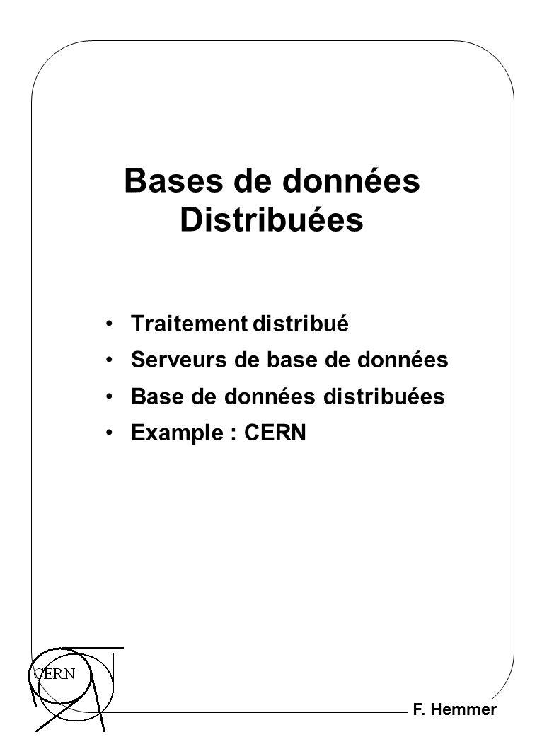 F. Hemmer Bases de données Distribuées Traitement distribué Serveurs de base de données Base de données distribuées Example : CERN