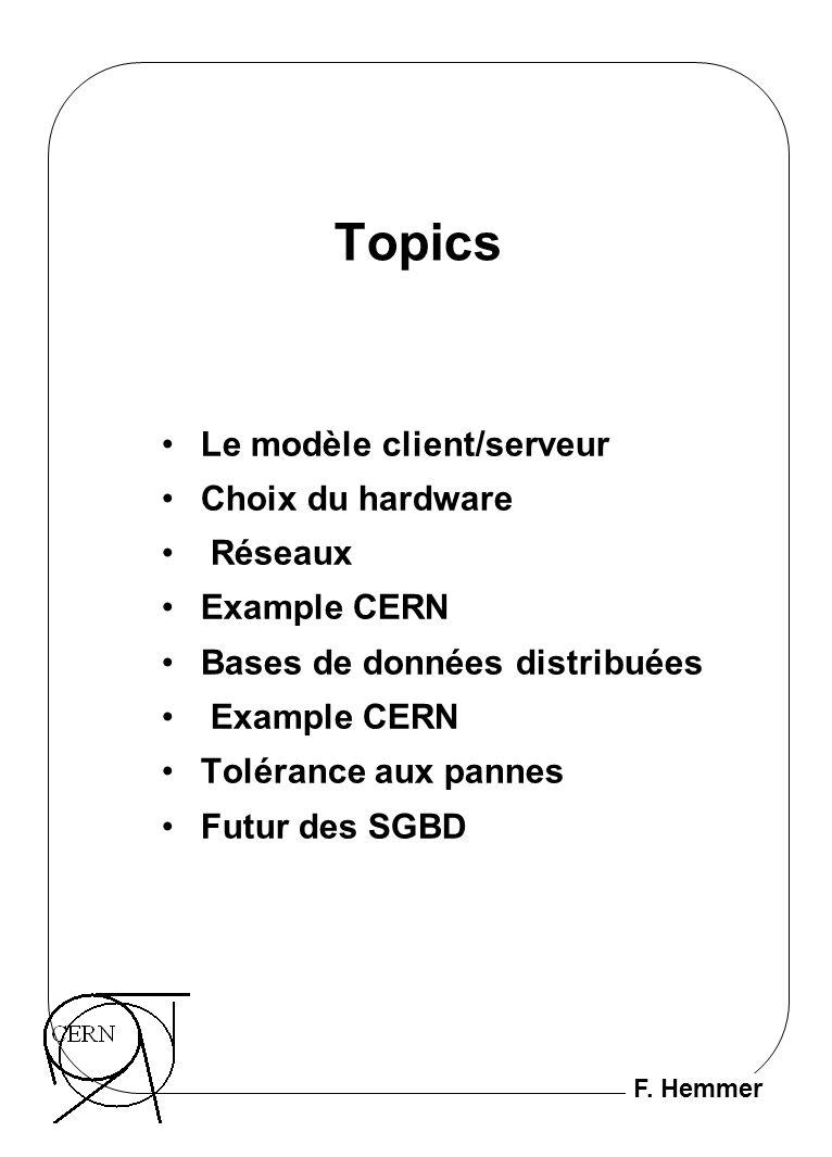 F. Hemmer Topics Le modèle client/serveur Choix du hardware Réseaux Example CERN Bases de données distribuées Example CERN Tolérance aux pannes Futur