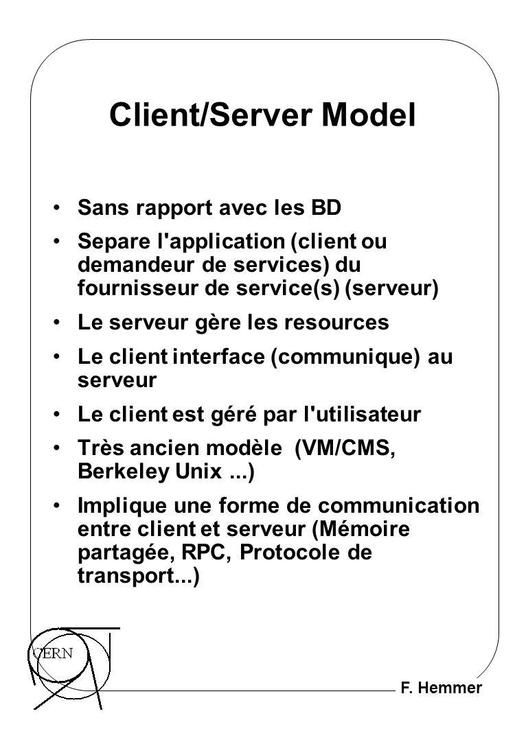 F. Hemmer Client/Server Model Sans rapport avec les BD Separe l'application (client ou demandeur de services) du fournisseur de service(s) (serveur) L