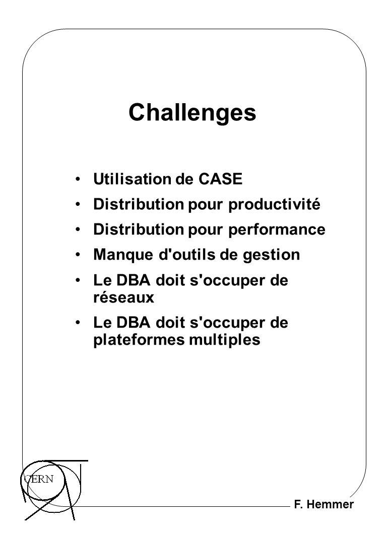 F. Hemmer Challenges Utilisation de CASE Distribution pour productivité Distribution pour performance Manque d'outils de gestion Le DBA doit s'occuper