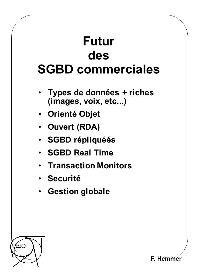F. Hemmer Futur des SGBD commerciales Types de données + riches (images, voix, etc...) Orienté Objet Ouvert (RDA) SGBD répliquéés SGBD Real Time Trans