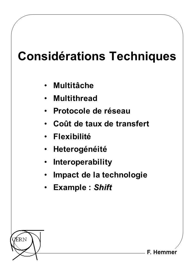 F. Hemmer Considérations Techniques Multitâche Multithread Protocole de réseau Coût de taux de transfert Flexibilité Heterogénéité Interoperability Im