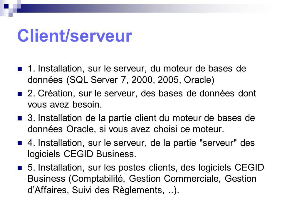 1. Installation, sur le serveur, du moteur de bases de données (SQL Server 7, 2000, 2005, Oracle) 2. Création, sur le serveur, des bases de données do