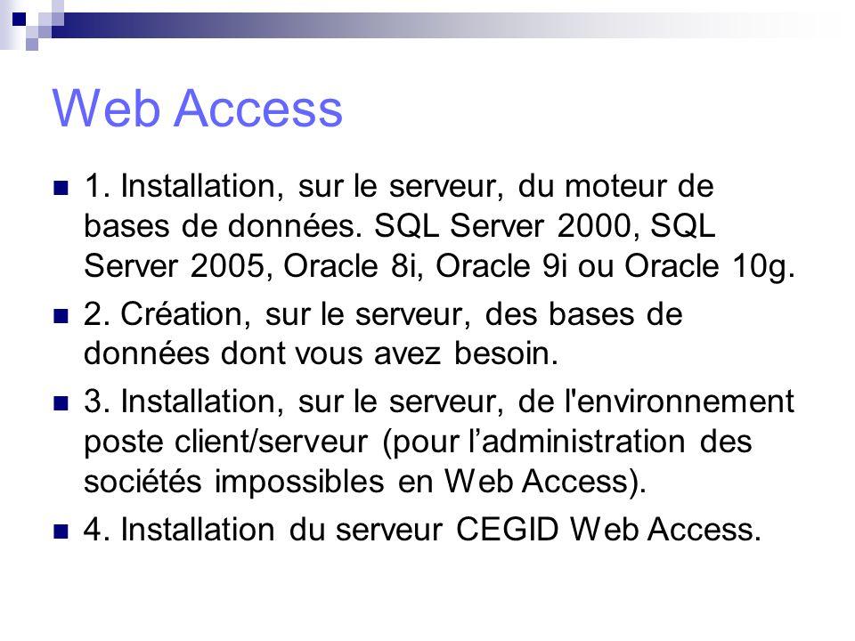 1. Installation, sur le serveur, du moteur de bases de données. SQL Server 2000, SQL Server 2005, Oracle 8i, Oracle 9i ou Oracle 10g. 2. Création, sur