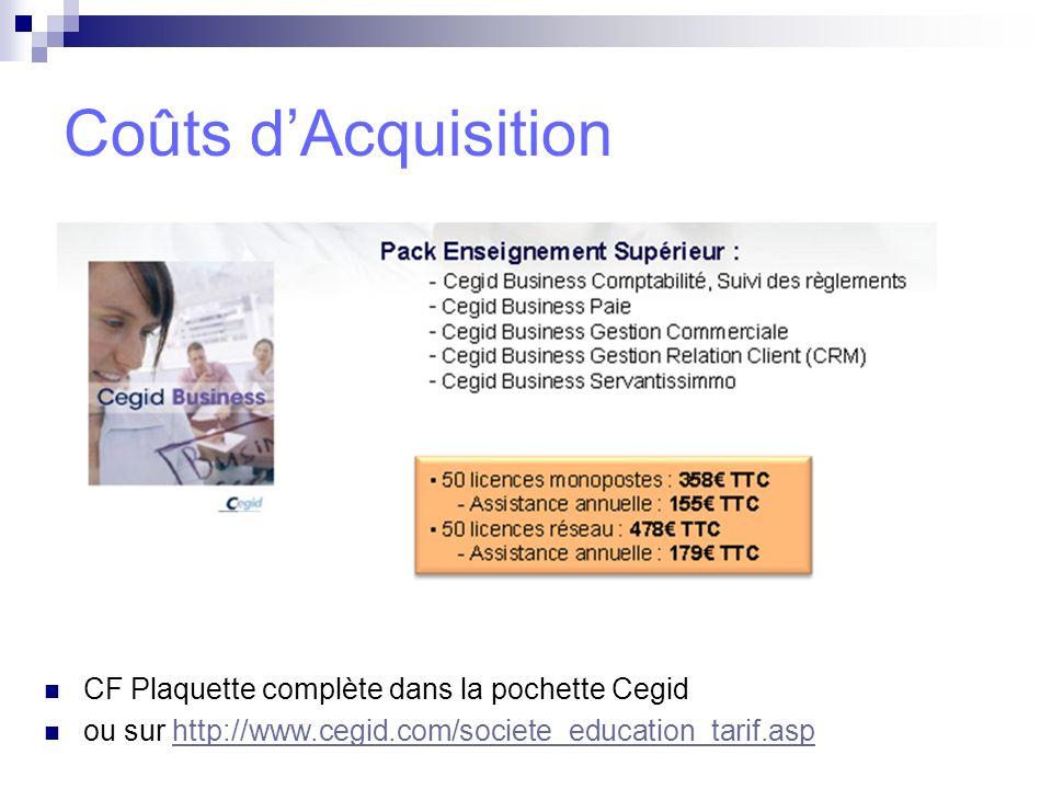 Coûts dAcquisition CF Plaquette complète dans la pochette Cegid ou sur http://www.cegid.com/societe_education_tarif.asphttp://www.cegid.com/societe_ed
