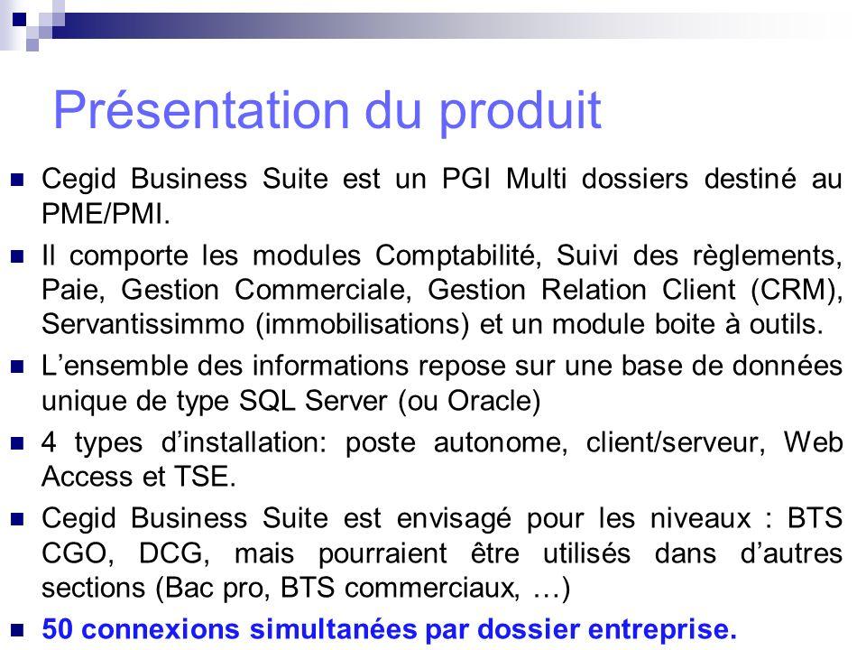 Cegid Business Suite est un PGI Multi dossiers destiné au PME/PMI. Il comporte les modules Comptabilité, Suivi des règlements, Paie, Gestion Commercia