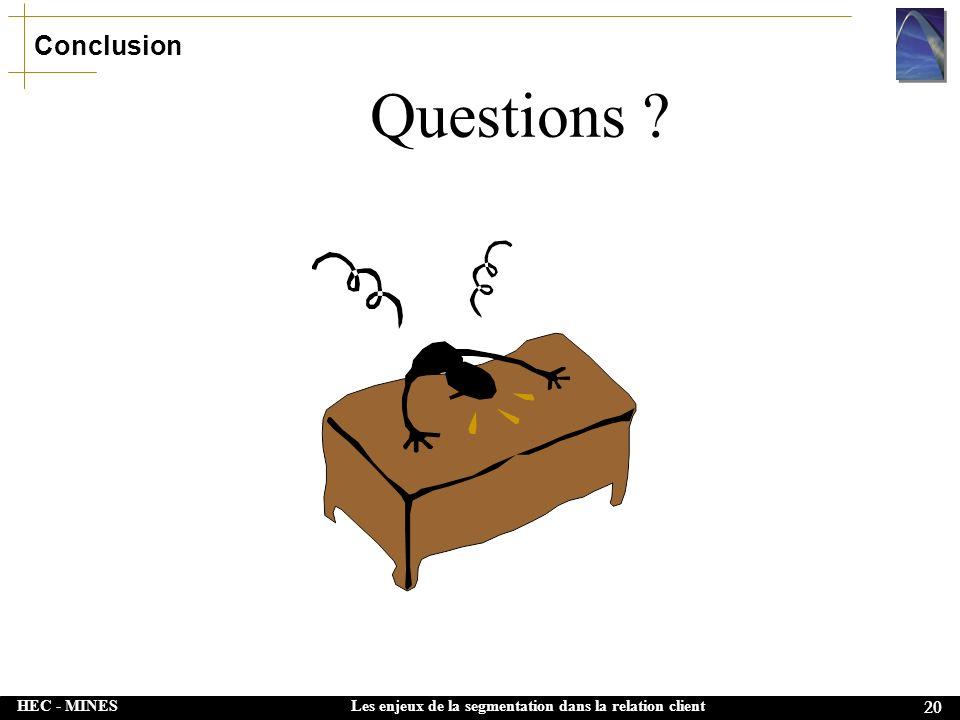 HEC - MINES 20 Les enjeux de la segmentation dans la relation client Questions ? Conclusion