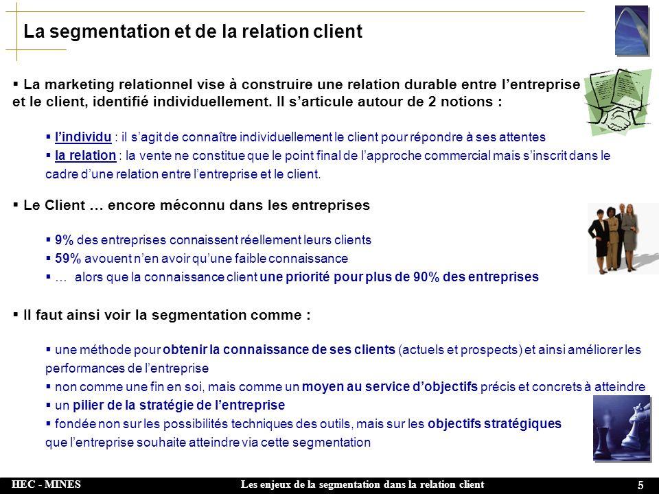 HEC - MINES 16 Les enjeux de la segmentation dans la relation client Segmentation & culture dentreprise La segmentation client, approche en amont, sinscrit dans la culture dentreprise :