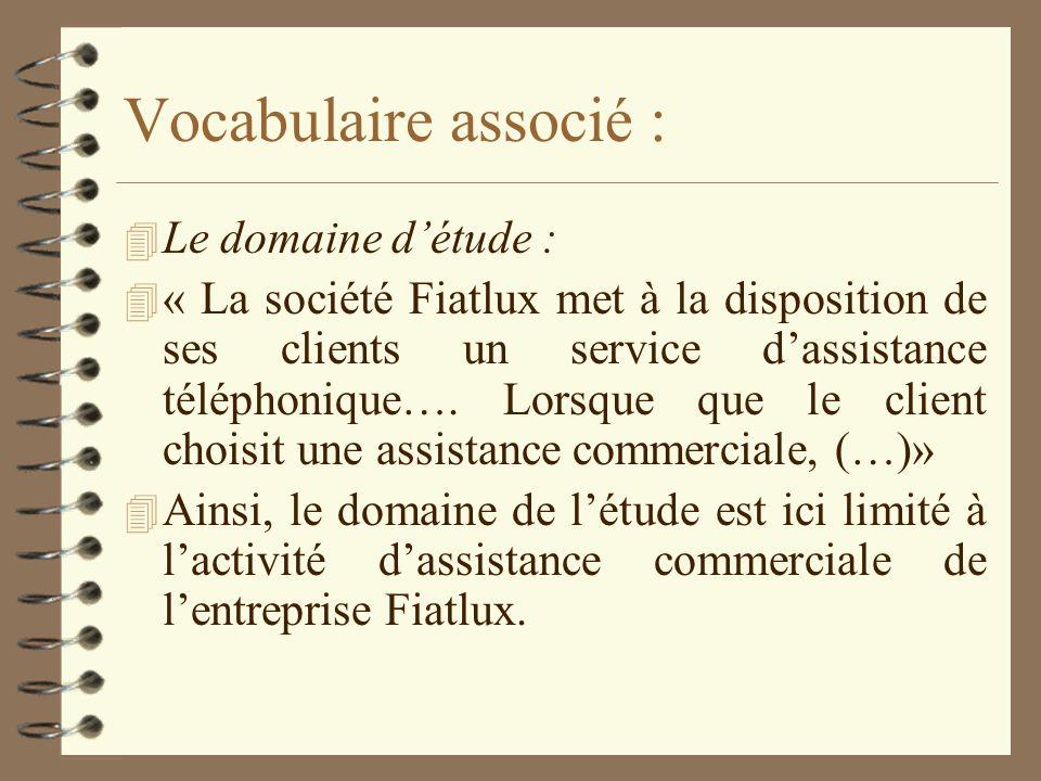 Les flux : 4 Dans le cas « Assistance commerciale » soulignons les flux et ordonnons-les : 4 « La société Fiatlux met à la disposition de ses clients un service dassistance téléphonique.