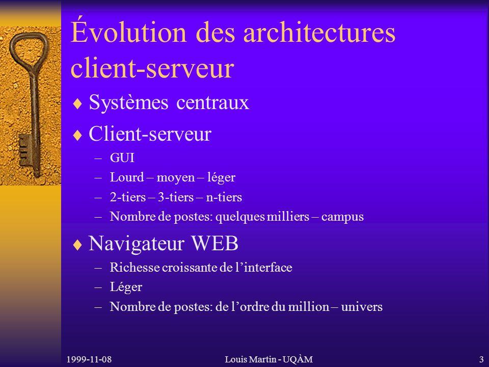 1999-11-08Louis Martin - UQÀM4 Les techniques de développement WEB CGI (avec PERL, TCL ou Python) Fast CGI NSAPI Netscape WAI (via CORBA) ISAPI Active Server Pages Servlet – Java Web Server
