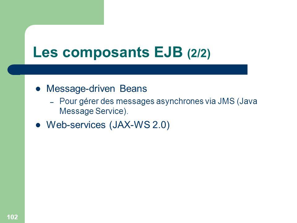 102 Les composants EJB (2/2) Message-driven Beans – Pour gérer des messages asynchrones via JMS (Java Message Service). Web-services (JAX-WS 2.0)