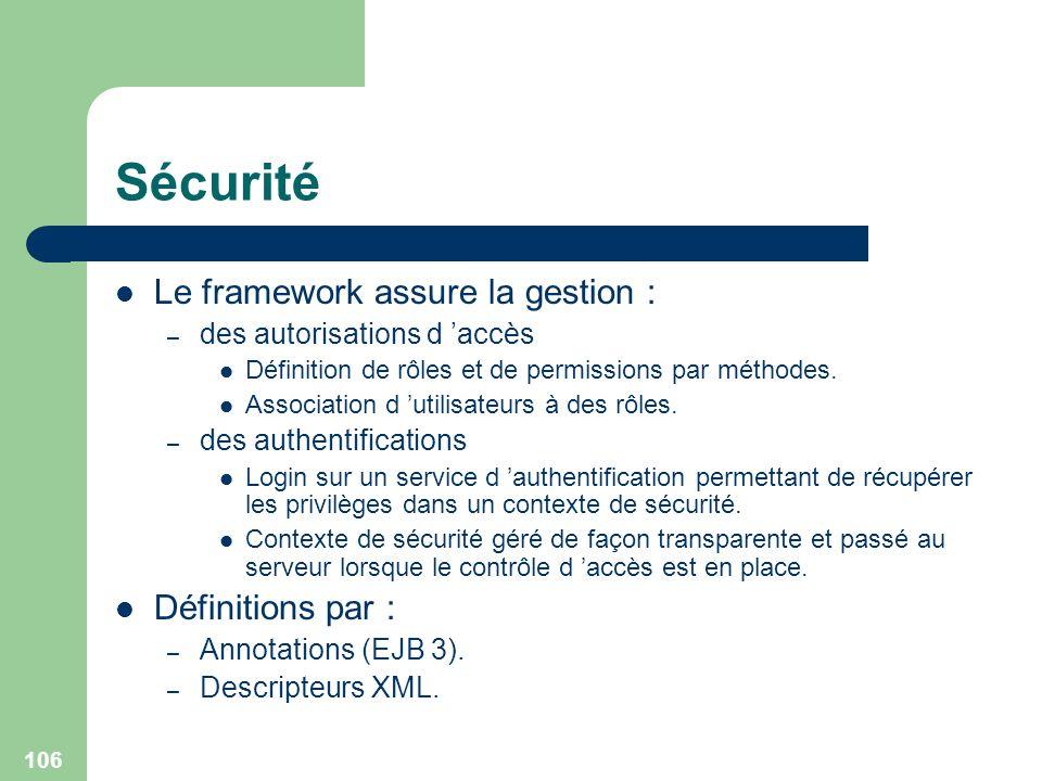 106 Sécurité Le framework assure la gestion : – des autorisations d accès Définition de rôles et de permissions par méthodes. Association d utilisateu