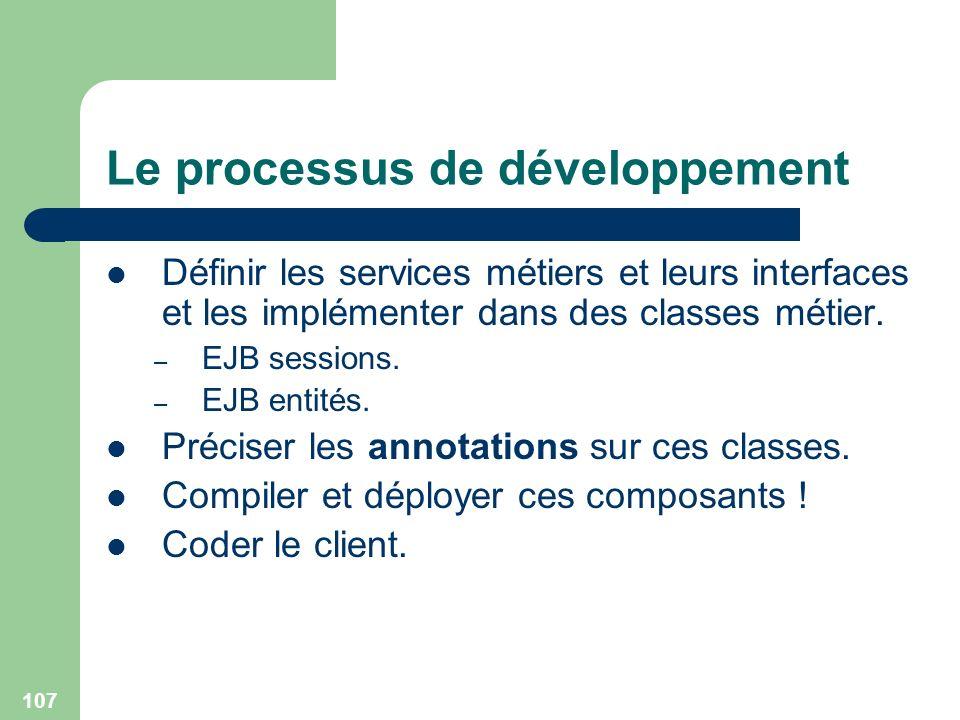 107 Le processus de développement Définir les services métiers et leurs interfaces et les implémenter dans des classes métier. – EJB sessions. – EJB e