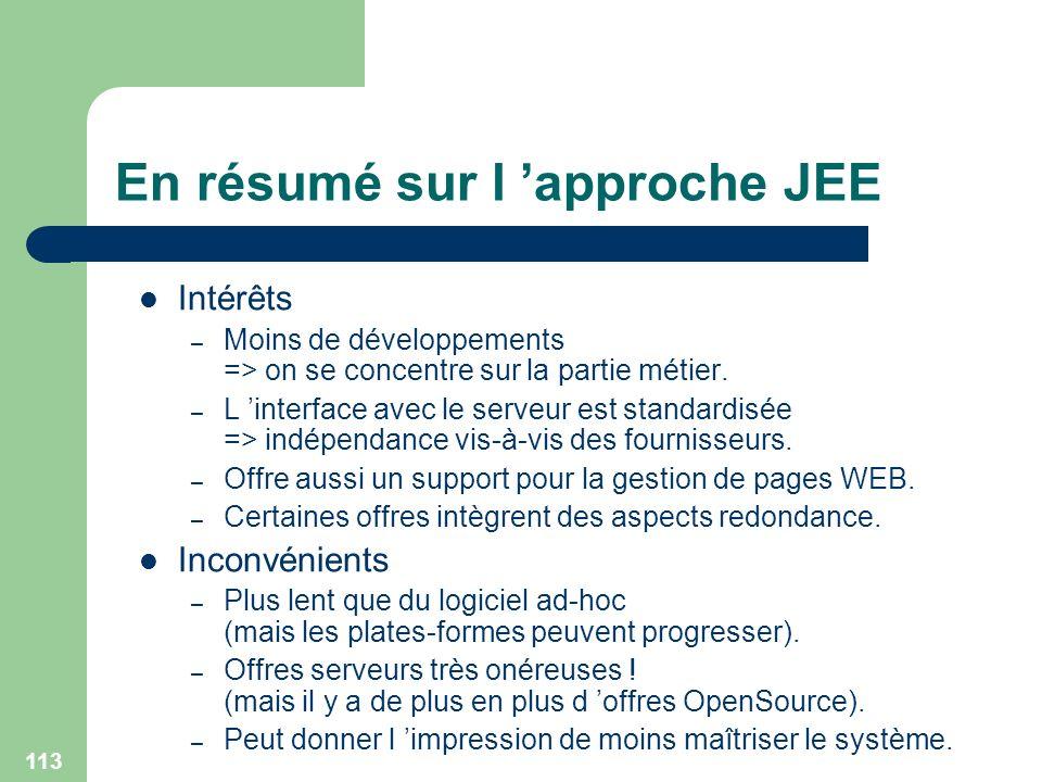 113 En résumé sur l approche JEE Intérêts – Moins de développements => on se concentre sur la partie métier. – L interface avec le serveur est standar