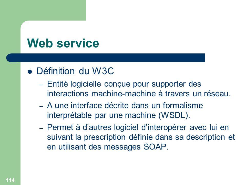 114 Web service Définition du W3C – Entité logicielle conçue pour supporter des interactions machine-machine à travers un réseau. – A une interface dé