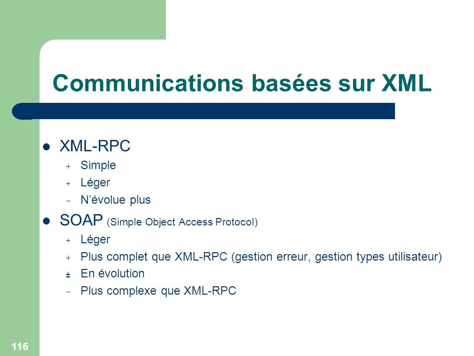 116 Communications basées sur XML XML-RPC + Simple + Léger - Névolue plus SOAP (Simple Object Access Protocol) + Léger + Plus complet que XML-RPC (ges