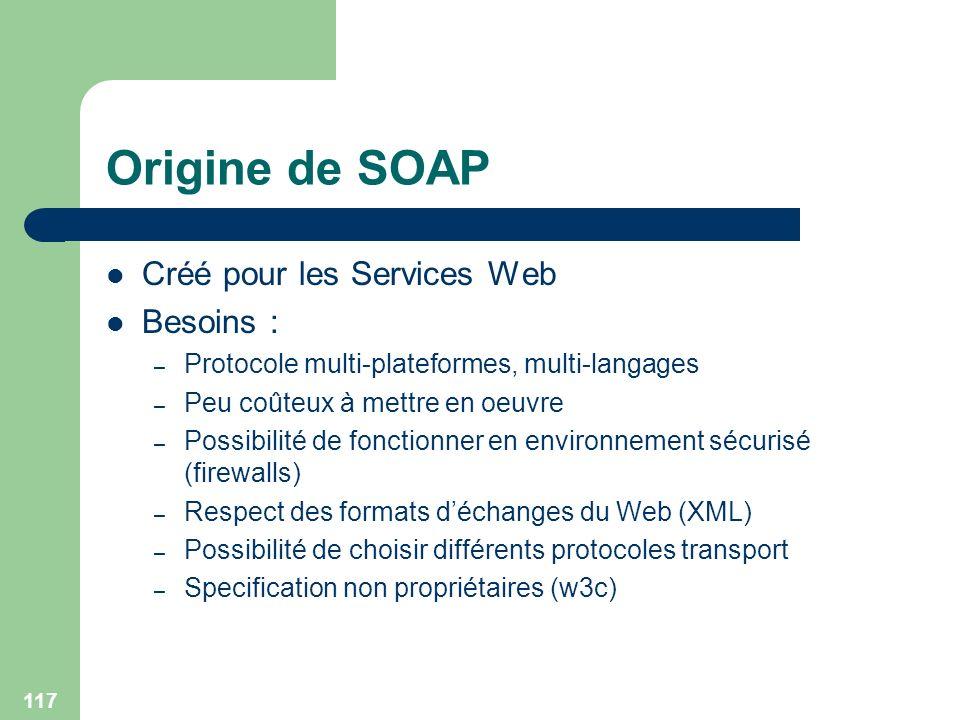 117 Origine de SOAP Créé pour les Services Web Besoins : – Protocole multi-plateformes, multi-langages – Peu coûteux à mettre en oeuvre – Possibilité